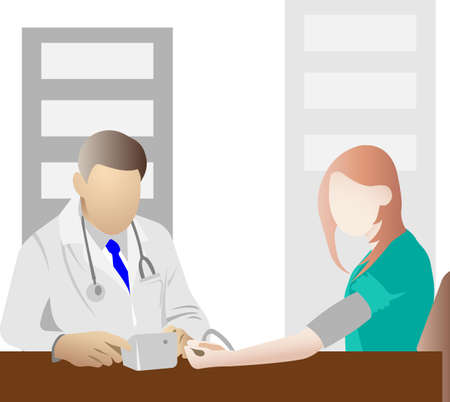 The doctor measures the patients blood pressure. Visit to the doctor in the clinic. Vector illustration.