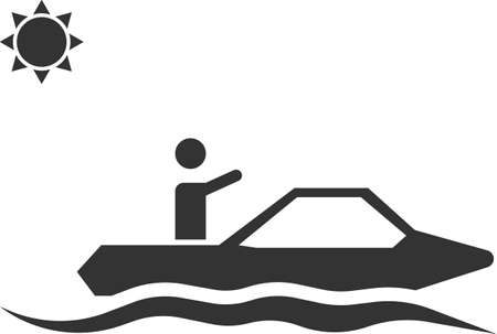 Icon of a man floating on the waves on a motor boat. Sea or river transport vehicle. Vector image isolated on a white background. Flat icon in black style.