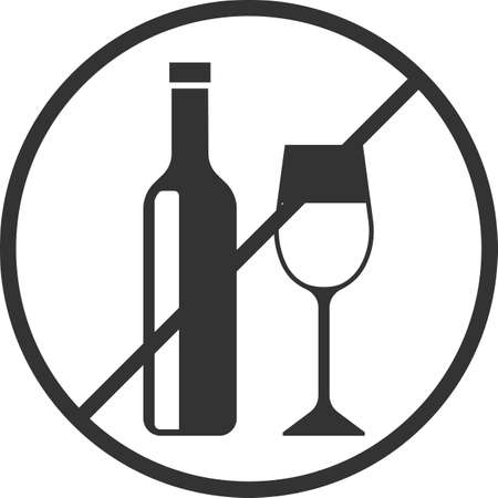 Vector icon of the prohibition of alcohol consumption. A bottle of wine and a glass. Black illustration isolated on a white background for graphics and web design.