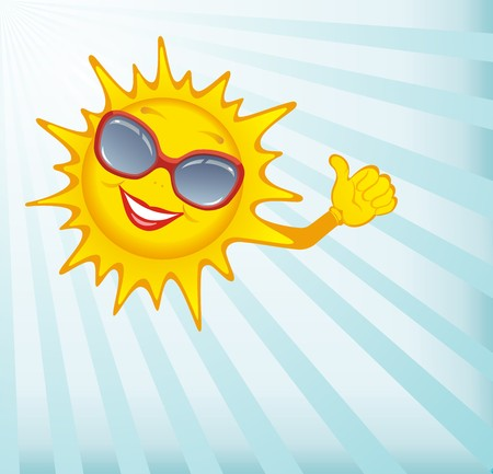 Happy sun.  Vector