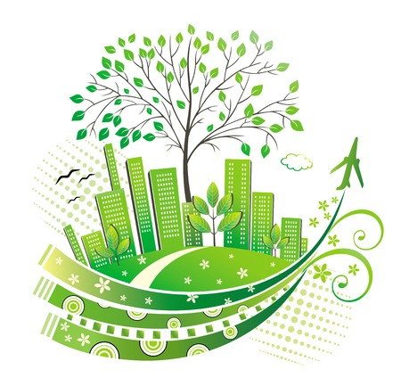 Green city.  Stock Vector - 7184357