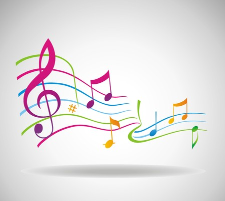 popular music: Colorful music background. Illustration