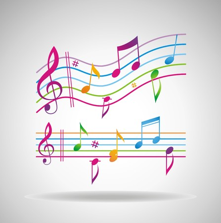 treble: Colorful music background. Illustration