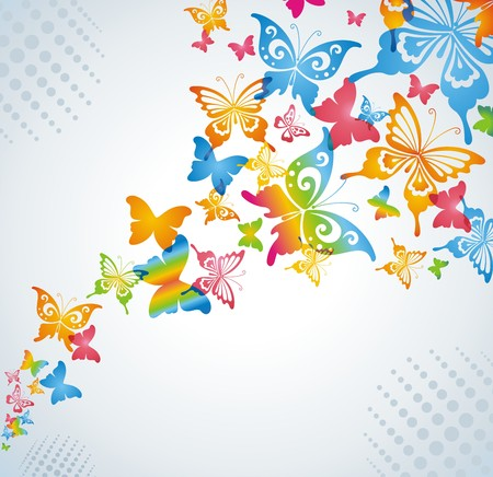 Colorful background with butterfly. Vector