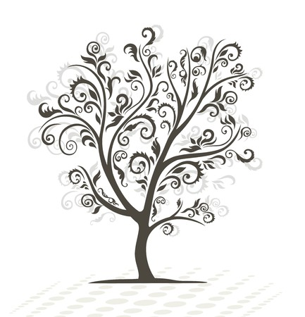 forest clipart: Decorative tree. Black silhouette.