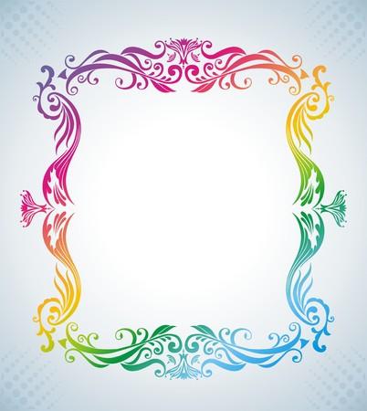 Colorful vintage frame. Vector