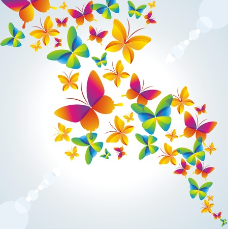 spring festival:   Colorful background with butterfly. Illustration