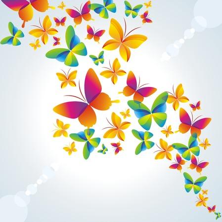 primavera: Fondo multicolor con mariposa.