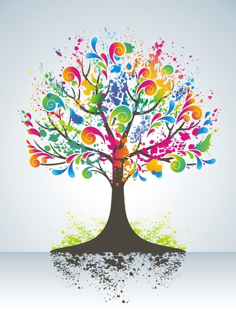 rainbow colours:   Abstract colorful tree. Illustration