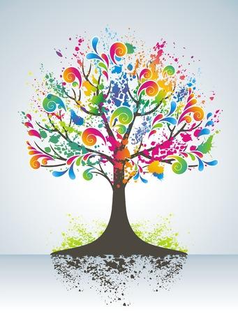 original design:   Abstract colorful tree. Illustration