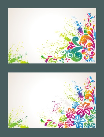 Set of colorful flower background. Vector