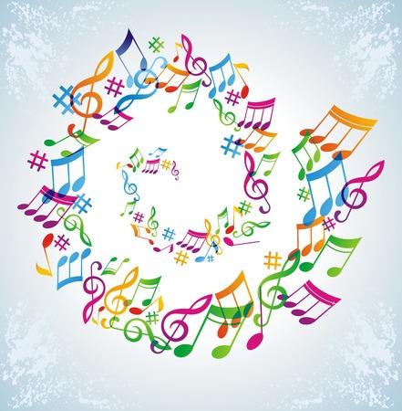 Coloridos música fondo.  Ilustración de vector