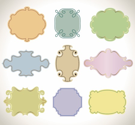 Set of color vintage frame. Stock Vector - 7444250