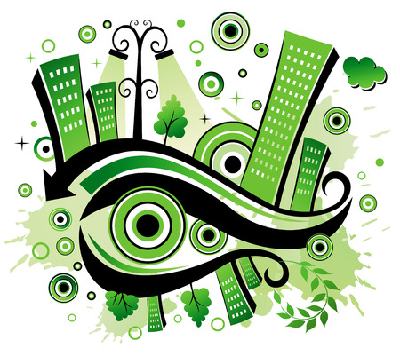 Green city.  Vector