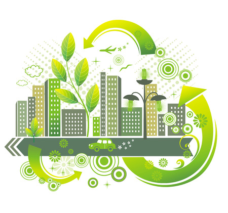 clean street: Green city.  Illustration