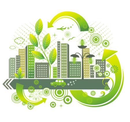 environnement entreprise: Ville verte.  Illustration