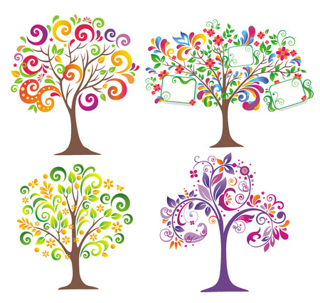 animals clipart: Set of beautiful trees.