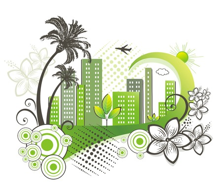 palmtree: Green city with palm.  Illustration