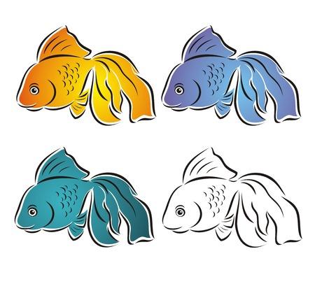 Set of beautiful fishes. Vector