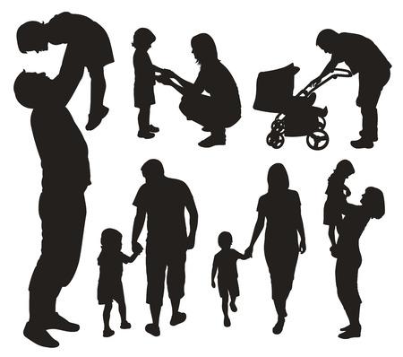 perambulator: Set di sagome di famiglie.