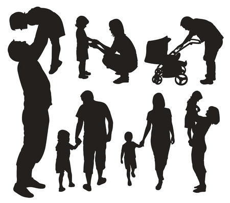 Set of family silhouettes. Stock Vector - 8082152