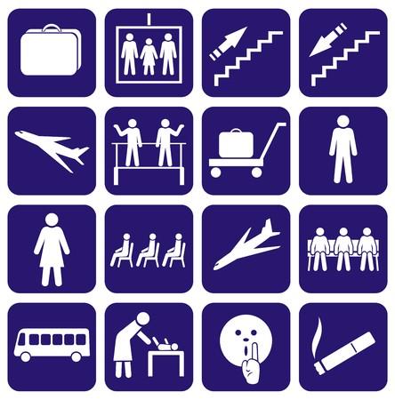 Airport. Station. Icons set. Vektorové ilustrace