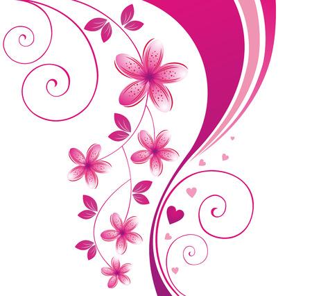 Pink flower. Floral background. Vector