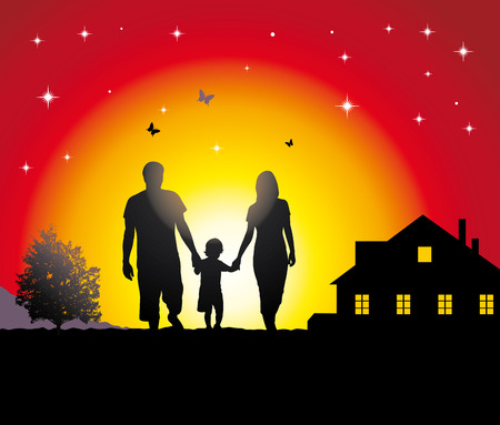 Young family walking in the village. Stock Vector - 8082307