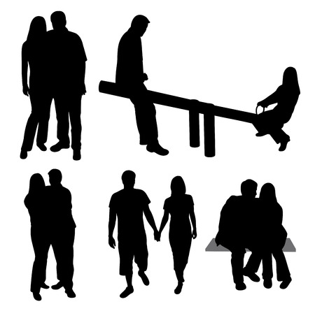Set of couples silhouettes. Vector