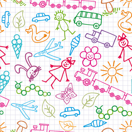 Childrens drawings. Doodle background. Vector