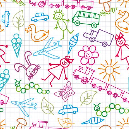 toy ducks: Dibujos de los ni�os. Fondo de bosquejo.