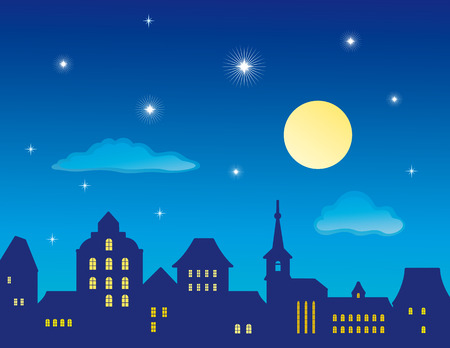 old moon: Old Town Skyline  Illustration