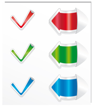 Positive checkmark stickers and arrows. Vector