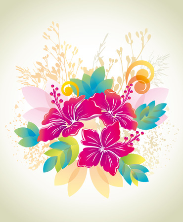exotic flowers: Hibiscus. Floral background.