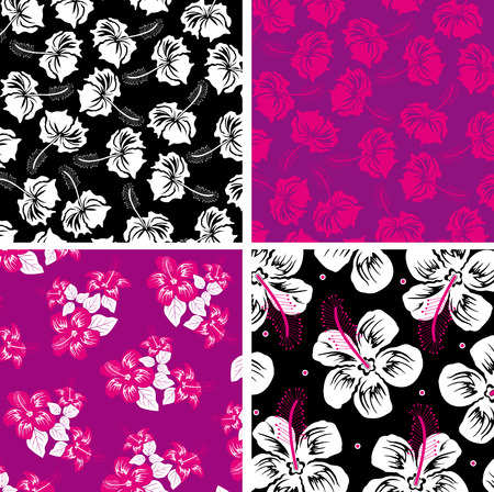 Floral background. Hibiscus. Vector
