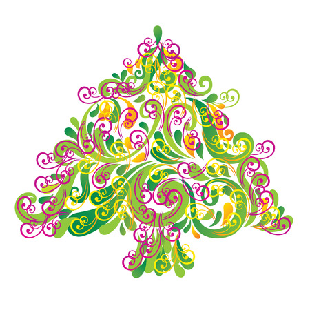 Christmas tree . Greeting card. Vector