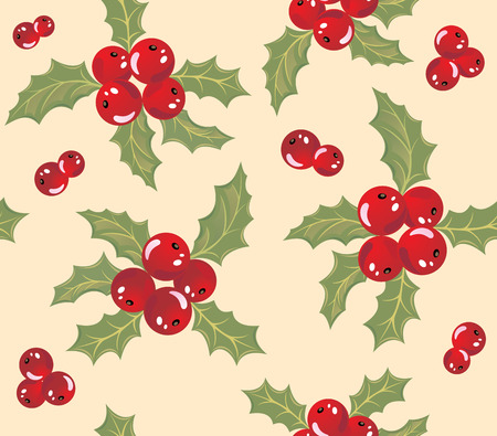 Seamless background with holly berry. Vector