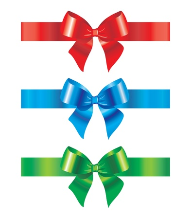 Bow and ribbon. Set of design elements.  Illustration