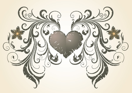 The Valentines Day. Vintage.  Vector