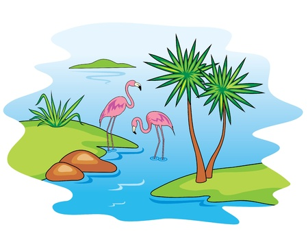 Pink Flamingo.  Stock Vector - 9718132