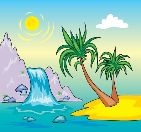 waterfall: Beautiful Waterfall.  Illustration