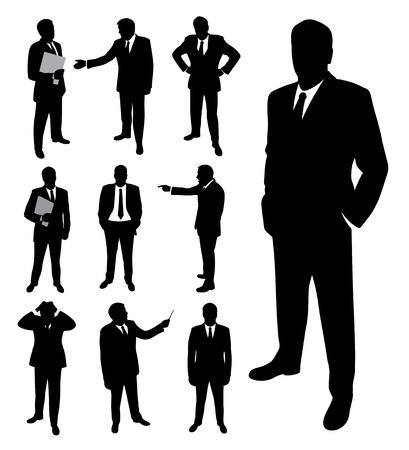 clipart speaker: Businessman silhouette. Illustration