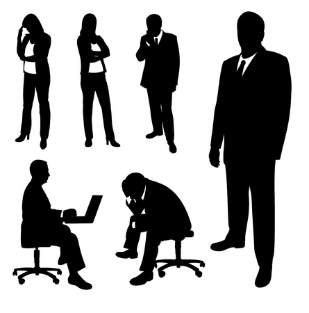 Silhouettes of businessman and businesswomen. Vector