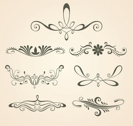 Vintage scrolls . Design elements and page decoration. Set.  Vector