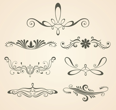 Vintage scrolls . Design elements and page decoration. Set.