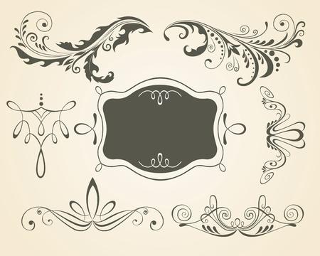 page decoration: Vintage rollen en frame. Ontwerpelementen en pagina decoratie. Instellen.