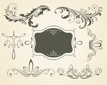 Vintage scrolls and frame. Design elements and page decoration. Set. Stock Vector - 9718144