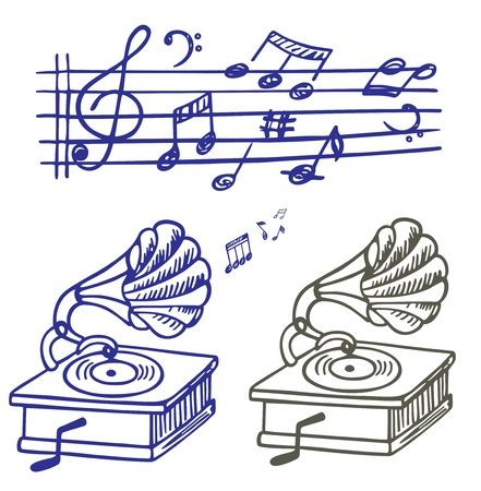 Music doodle. Set of music note and gramophone doodle.  Stock Vector - 9718138