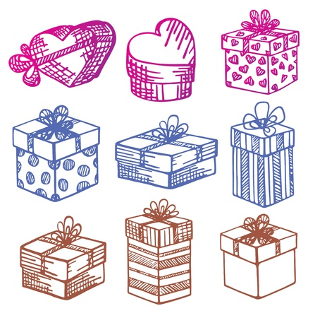Hand-Drawn. Set of Gift boxes. Doodle.  Vector