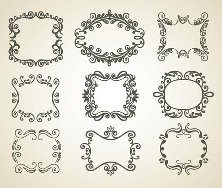 abstract doodle: Vintage  frame. Set.